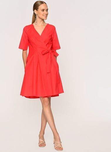 Loves You Anvelop Bağlamalı Kısa Kol Poplin Elbise Mercan